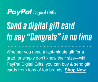 """Send a digital gift card to say """"Congrats"""" in no time"""